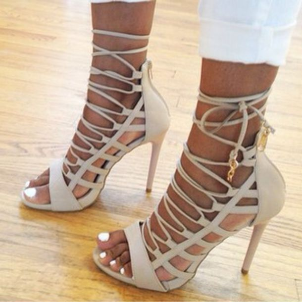 Shoes: lace up heels, heels, taupe, nude heels, love, desperate ...