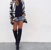 shorts,one teaspoon,blonde hair,thigh highs,thigh high boots,black heels,black boots,boots,cut off shorts,cut offs,denim shorts,distressed denim shorts,cardigan,style,sweater,los angeles,fashion,sunglasses