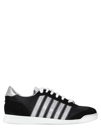 metallic sneakers leather suede silver black shoes