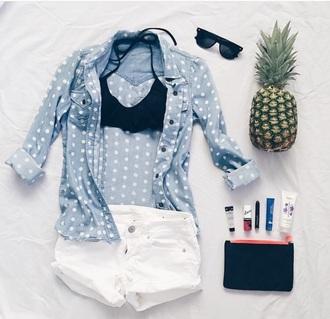 blouse jeans blue shirt denim jacket style summer top fashion