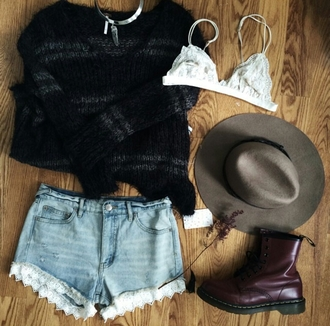 sweater winter sweater bralette lace bra white lace bra choker necklace necklace lace shorts shorts hat fedora tumblr outfit on point on point clothing