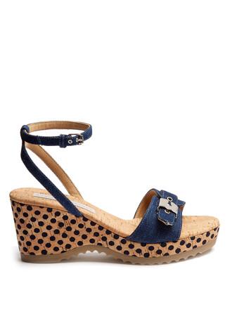 sandals wedge sandals denim shoes