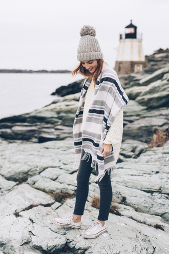 prosecco and plaid blogger hat scarf sweater jeans shoes jewels