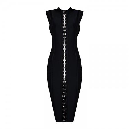 Kim Kardashian Embellished Hint of cleavage Black Bandage Dress
