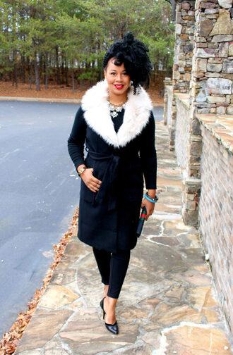 babyshopaholic blogger jacket t-shirt pants bag shoes jewels black coat winter outfits high heel pumps pumps