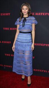 dress,maxi dress,lace dress,blue,zendaya,blue dress,see through dress