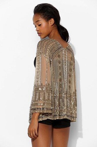 jacket sequins mesh ecote urban outfitters embellished embellished jacket