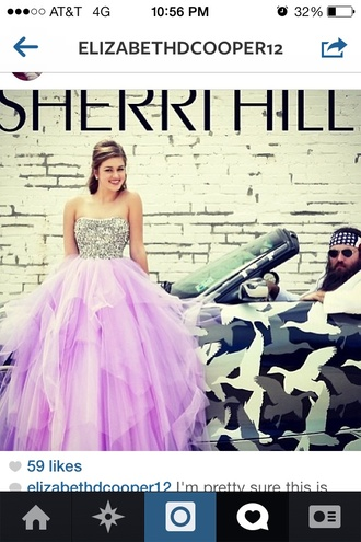dress sadie robertson purple long silver sequins strapless prom dress