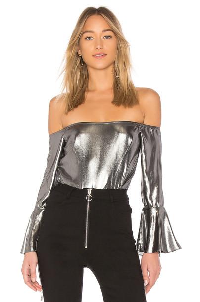 Privacy Please bodysuit metallic silver underwear