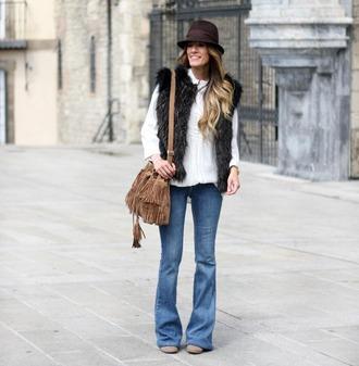 rebel attitude blogger faux fur vest fringed bag