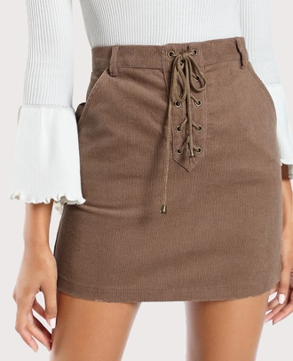 skirt lace lace up girly brown suede suede skirt corduroy fashion corderouy mini mini skirt high waisted