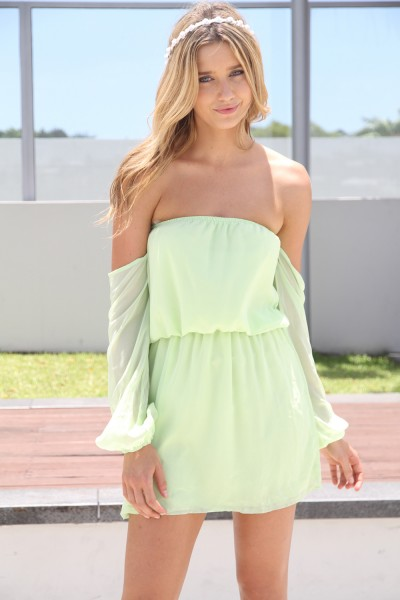 Green Day Dress - Lime Green Off the Shoulder | UsTrendy