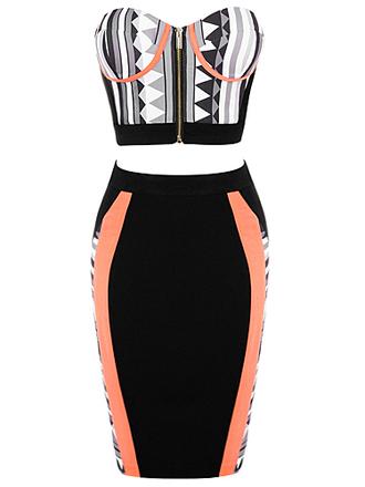 dress 2-piece skirt set skirt crop tops crop top bustier crop top and pencil skirt print geometric