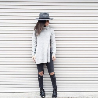 sweater gray side split knit
