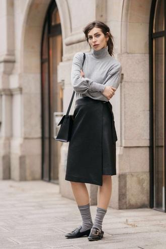 skirt midi skirt black skirt wrap skirt top grey top shoes flats black shoes socks sweater