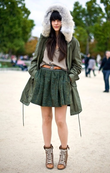 fur jacket green