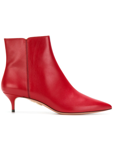 Aquazzura women booties leather red shoes