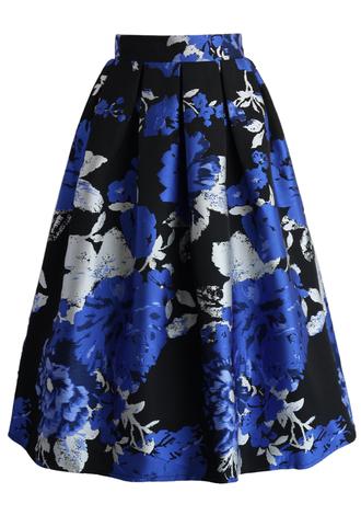 skirt blue bouquet jacquard midi skirt chicwish midi skirt