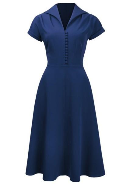 40s 1940s Rockabilly Bule Women Womens Dress Vintage