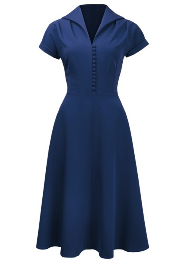 40s 1940s rockabilly bule women womens dress vintage retro blue dress party dress prom dress