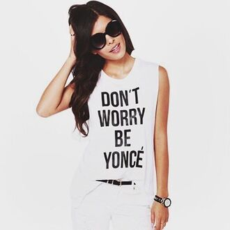 tank top white quote on it summer trendy cool spring freevibrationz