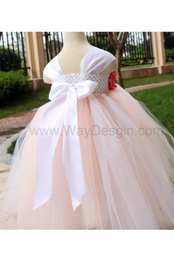 Flower Girl Dress Coral Rose tutu dress baby dress toddler birthday dress wedding dress
