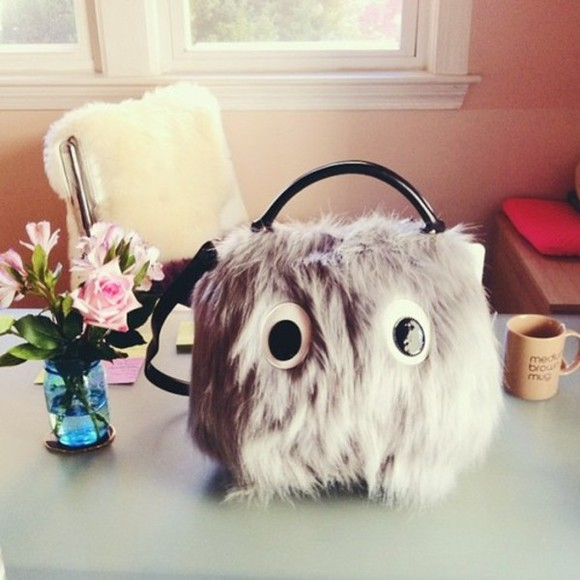 handbag bag handbags satchel fluffy eye astel purple cute furry fluff