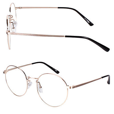 Unisex Men Women Nerd Glasses Clear Lens Eyewear Retro Round Metal Frame | eBay