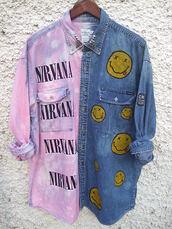 band,button up,tie dye,purple,nirvana t-shirt,rock,grunge,shirt,jacket,nirvana,denim jacket,blouse,denim,blue,band t-shirt,pink,yellow
