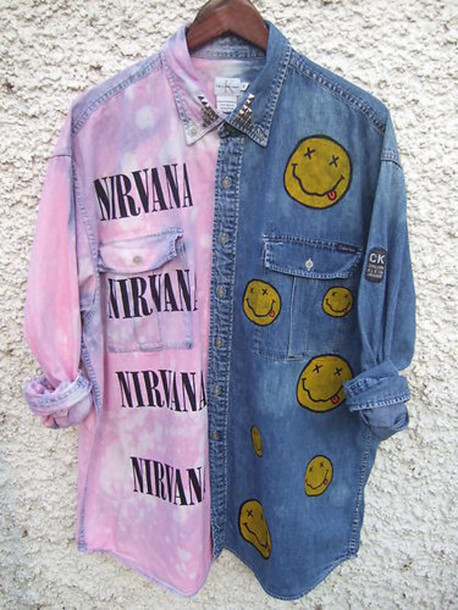 band button up tie dye purple nirvana t-shirt rock grunge shirt jacket nirvana denim jacket blouse denim blue band t-shirt pink yellow