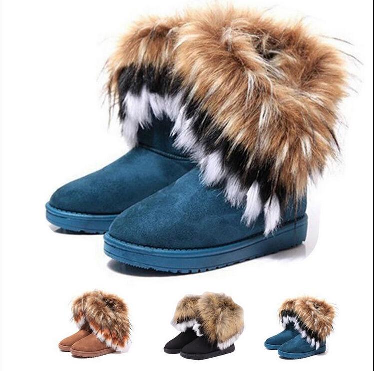 women winter warm high long snow Ankle boots faux fox rabbit fur ... c34c1db3e6