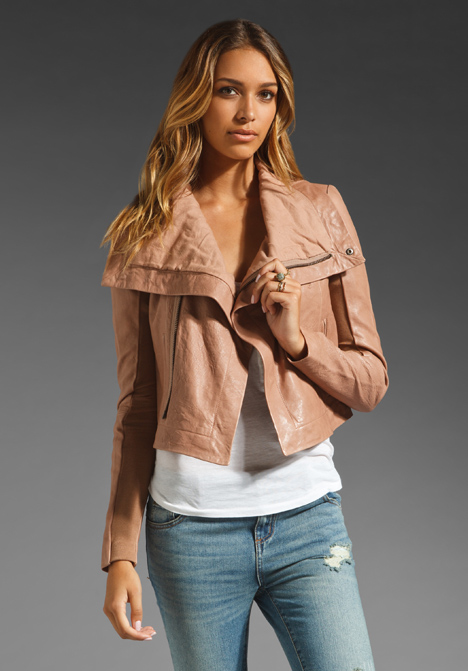 VEDA Max Classic Crispy Leather Jacket in Mauve at Revolve ...