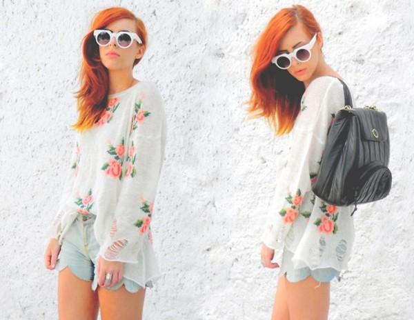 sweater shorts sunglasses