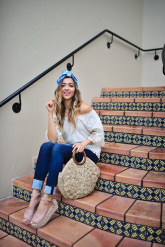 cuppajyo blogger top jeans shoes bag jewels turban blouse off the shoulder top flatforms spring outfits