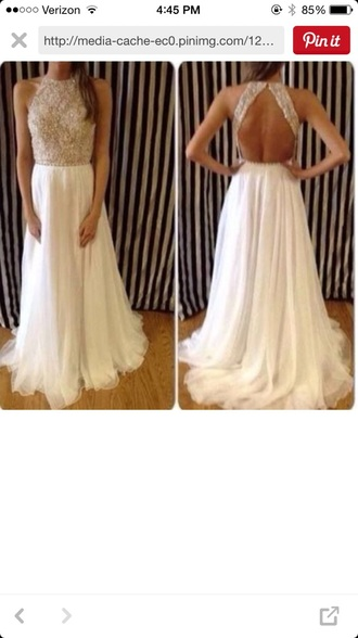 dress sequin dress white dress gold sequins prom dress backless dress long prom dress long dress sleeveless dress