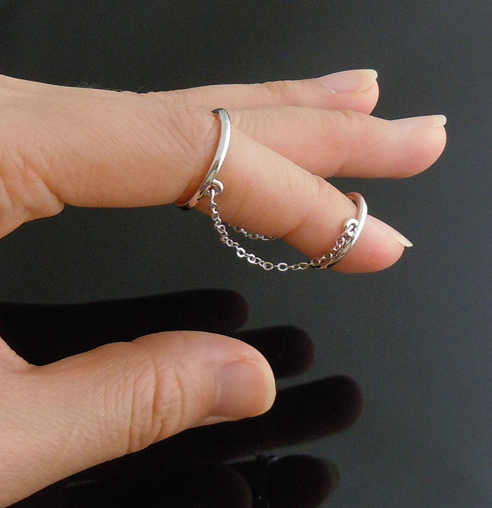 Silver Tone Super Hot Chain MIDI Ring Big Ring SZ6 5 Small RINGSZ5 CHAIN2INCH | eBay