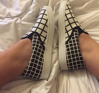 slip on shoes checkered black and white