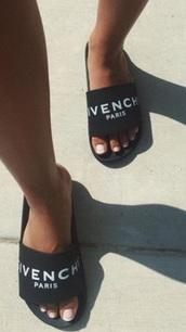 shoes,slide shoes,black