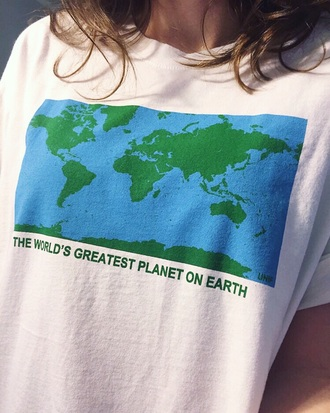 shirt earth science tumblr tumblr shirt t-shirt chill globe white white t-shirt planets cute cute shirt graphic tee graphic top earth shirt greatest planet on earth tumblr shirts stupid shirt funny shirt cute top unif map print the world blue green aesthetic aesthetic tumblr aesthetic grunge tumblr aesthetic pale aesthetic aesthetic shirt grunge grunge t-shirt pale pale grunge world girl funny print quote on it hipster tumblr t shirt aesthetic t shirt soft grunge grunge shirt grunge t shirt soft grunge shirt soft grunge t shirt vintage vintage shirt vintage t shirt top colorful
