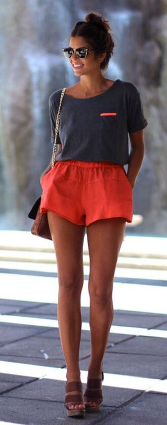 shorts neon orange shirt coral bag t-shirt ouftit t-shirt dress top coral short red red shorts summer summer shorts