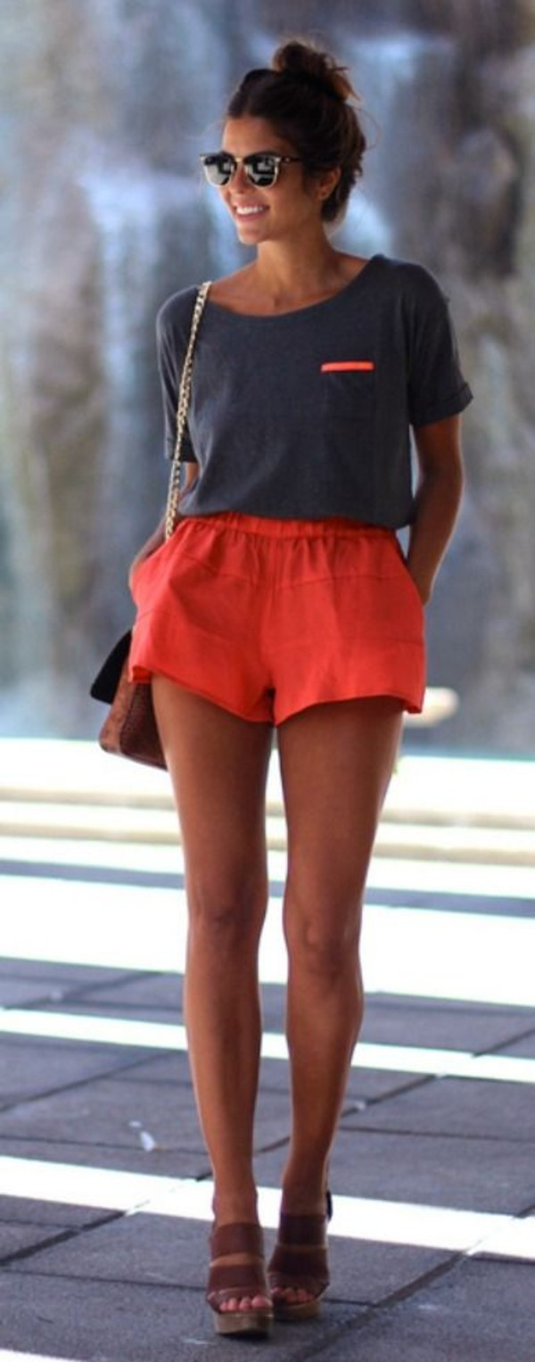 shirt grey orange casual hipster shoes heels brown shorts outfit boho bohemian neon coral bag pants t-shirt ouftit t-shirt dress top grey red red shorts. track shorts.  trackies. coral short red shorts summer summer shorts