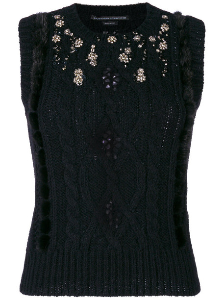 Ermanno Scervino sweater sleeveless women embellished black wool