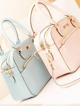 bag pastel pink pastel light blue light pink blue bag pink handbag pastel bag