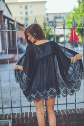 top,kimono,cardigan,black,black lace,lace top,black lace kimono,lace,boho,bohemian,music festival,trendy,summer,fall outfits,festival