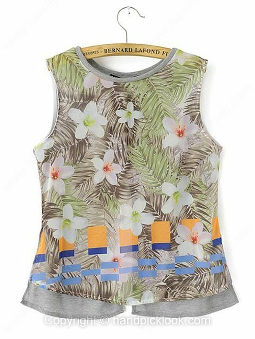 Grey Round Neck Sleeveless Floral Print Back Split Vest - HandpickLook.com