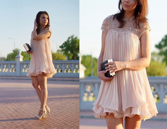 dress ruffles apricot beaded dress beaded aliexpress