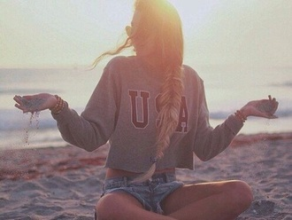 sweater usa sweatshirt sweater/sweatshirt crop tops grey sweater gray hoodie