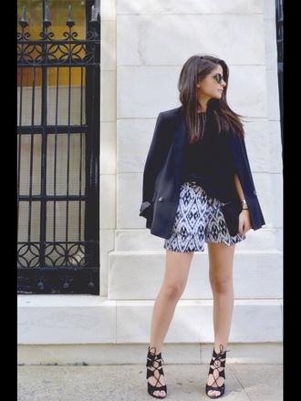 leather boots sandals high heels heels skirt blue skirt skorts style elegant outfit blue blazer blazer tshirt design patterned skirt sunglasses clutch leather bag