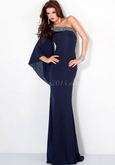 beaded column one shoulder chiffon long sleeve evening dress - dress2014.com