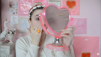 home accessory mirror heart pink translucid double face